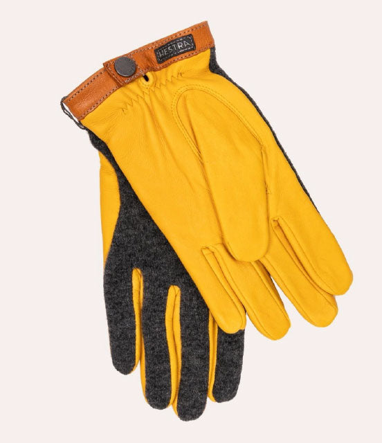 HESTRA Deerskin Wool Tricot Gloves - Charcoal / Natural Yellow