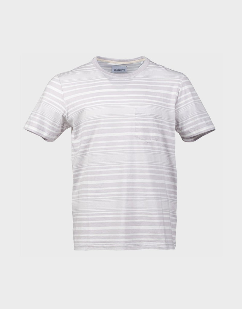 Albam Archive Stripe T-Shirt - White & Lilac - The 5th
