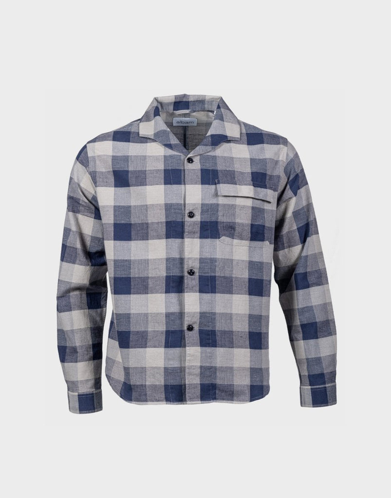 Albam LS Miles Shirt - Blue Check - The 5th