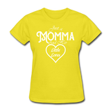 Just A Momma And Her Little Loves (White Lettering) - yellow