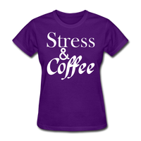 Stress & Coffee (White) - purple
