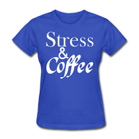 Stress & Coffee (White) - royal blue