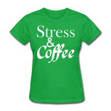 Stress & Coffee (White) - bright green