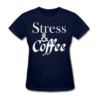 Stress & Coffee (White) - navy