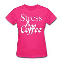 Stress & Coffee (White) - fuchsia