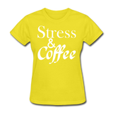 Stress & Coffee (White) - yellow