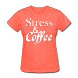 Stress & Coffee (White) - heather coral