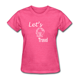 Let's Travel (White) - heather pink
