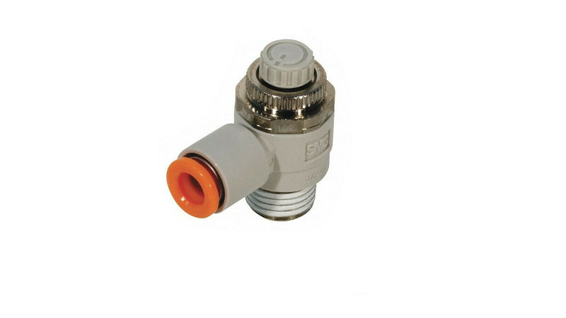 "SMC Elbow Speed Control Valve, 1/8"" valve Port Size, 1/4"" Tube Size pk 10"