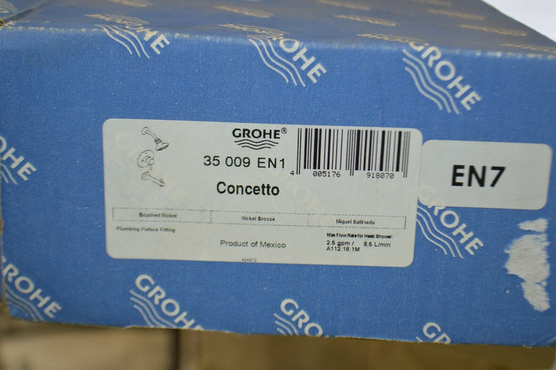 GROHE 35 009 001 Concetto Shower Valve brushed Nickel Plumbing Fixture