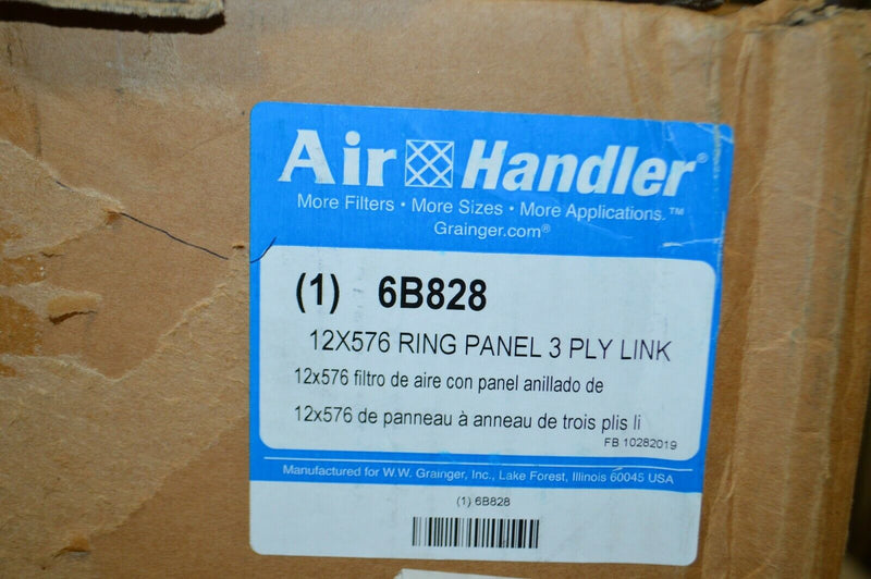 AIR HANDLER 12X576 RING PANEL 3 PLY FILTER,  MODEL 6B828