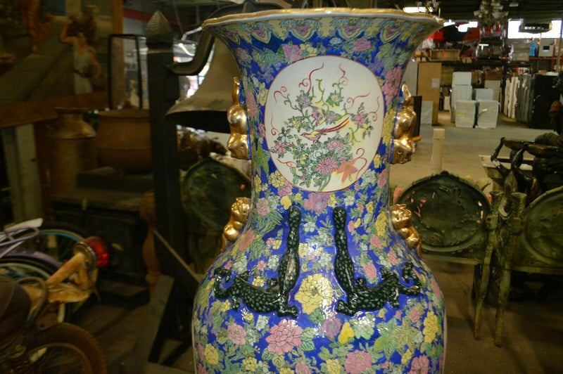 4 & 1/2 foot tall Oriental Decorative vase, pheasant and flowers