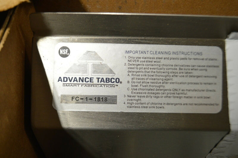 Advance Tabco Stainless steel scullery sink without faucet, 16 guage floor mount