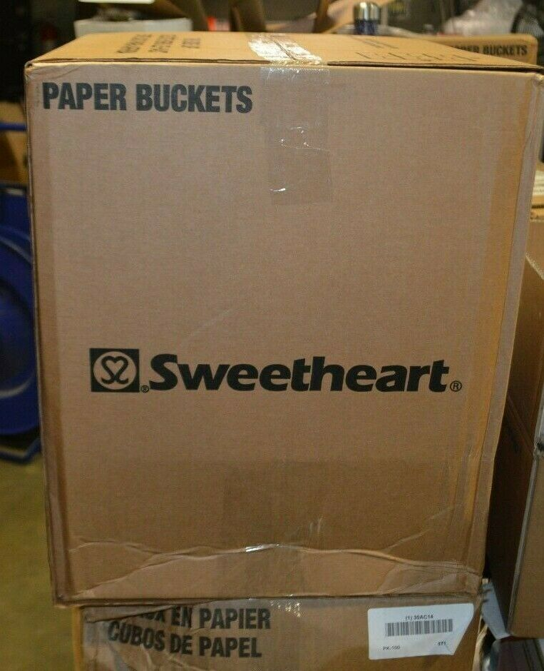 Sweetheart, Paper round food bucket, White, 100 pk