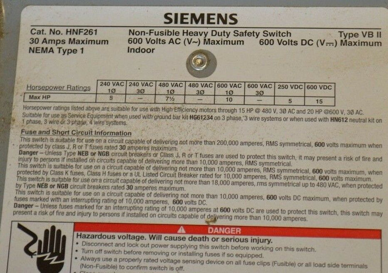 Siemens HNF261 30-Amp 2 Pole 600-volt 2W Non-Fused Heavy Duty Safety Switch