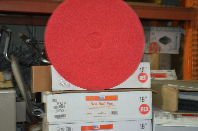 "Brillo 19"" Red Floor Spray Buffing / Cleaning Pads 5 / Case Red Buff Pad"