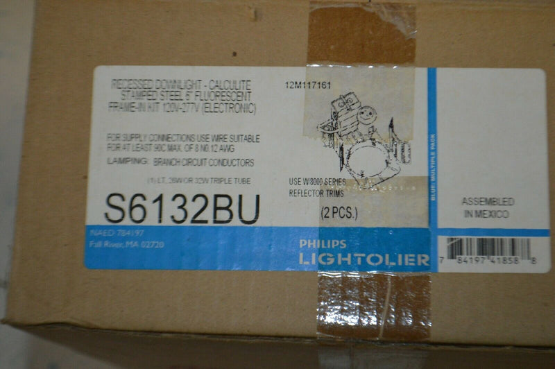 "Philips Calculite stamped steel 6"" flourescent frame kit S6132BU lot of 2"