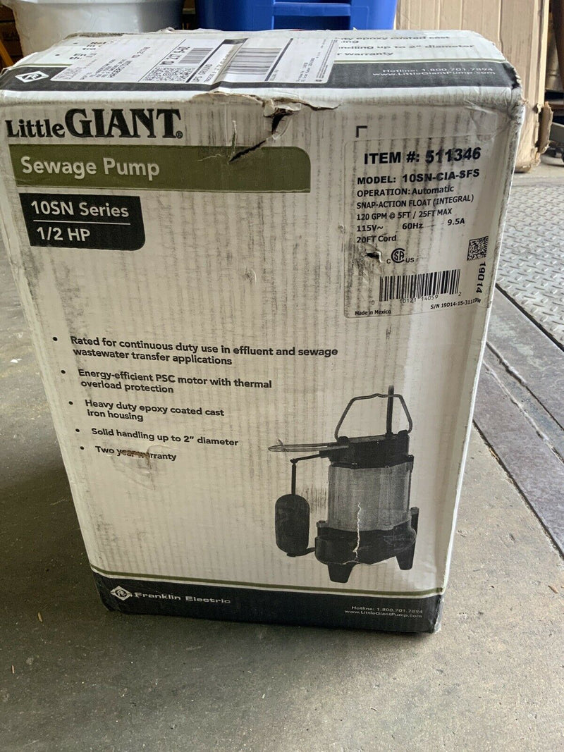 "Little Giant 10SN-CIA-SFS - 1/2 HP Cast Iron Sewage Pump (2"") w/ Vertical Float"