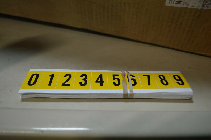 "Brady Numbers label kit, 0-9 black on yellow, 1"" character height 24pk"