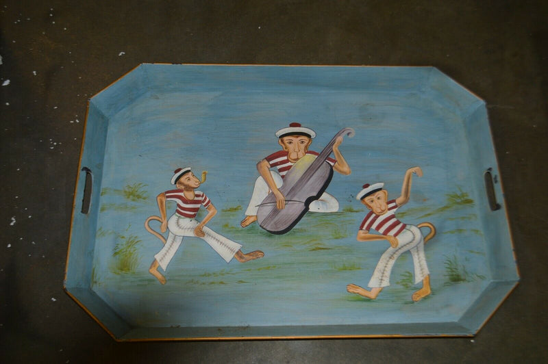 Hand Painted metal serving tray , three monkeys
