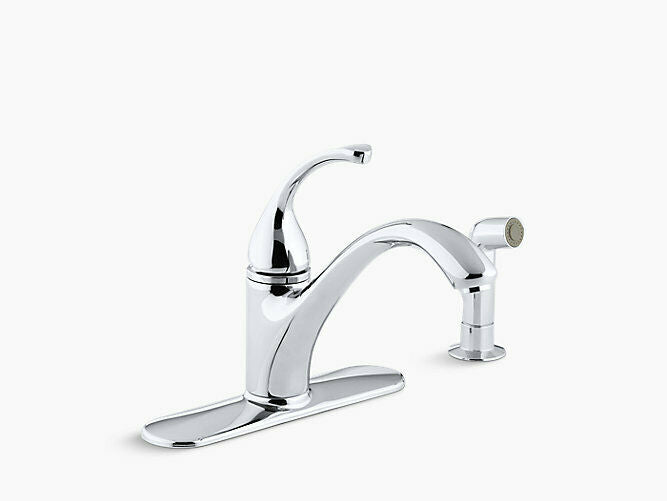 "Kohler Forte 10412-CP 4-hole kitchen sink faucet w/ 9-1/16"" spout w/ side spray"