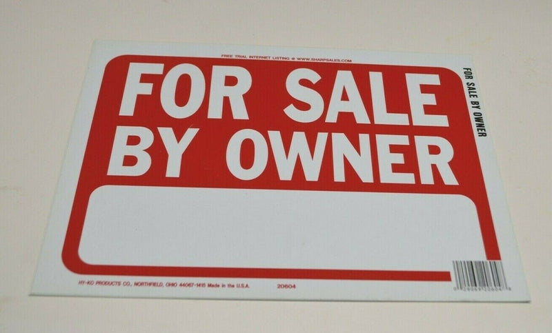 HY-KO 20604 For Sale By Owner Sign, Red and White 8x12 2pcs