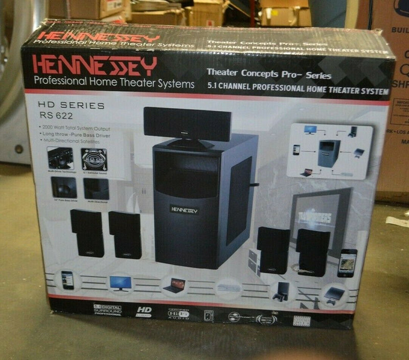 Hennessey HD Series RS622, 5.1 channel professional home theater system