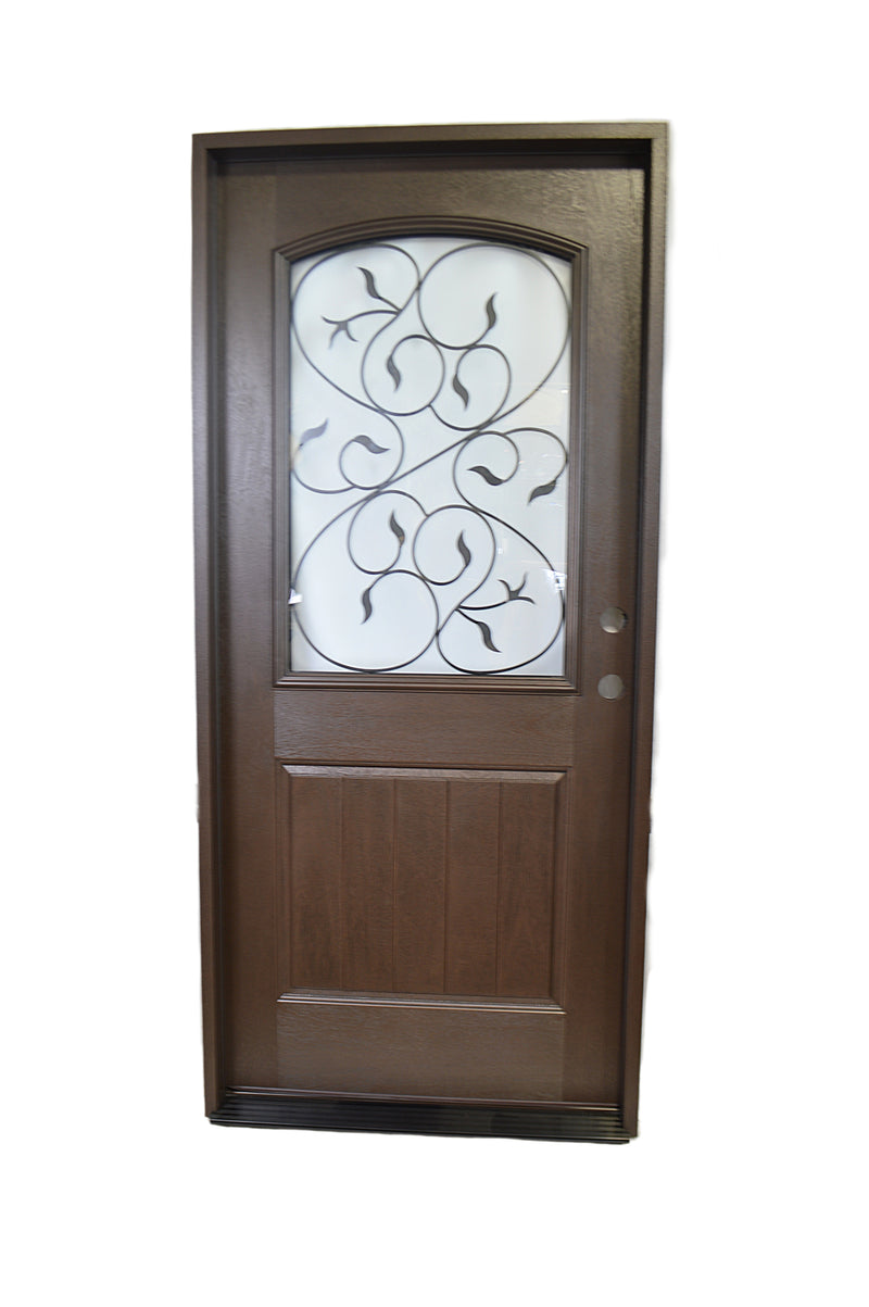 Half View Decorative Frosted Glass with Iron Leaf Pattern in Frame