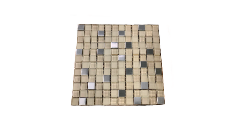 Square Multi color Brown and stainless tile
