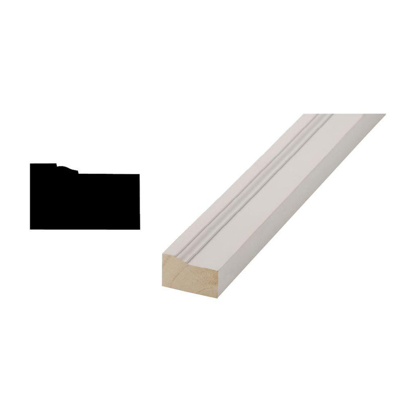 "WPM180P Brick Moulding Finger Jointed Primed Wood 1-1/4""x2"" - 17 feet long"