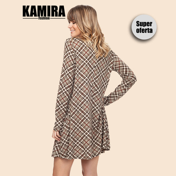 KAMIRA Short Dress with Plaid Long Sleeves Plaid Light Brown Women's Clothing Autumn Winter Vintage Style