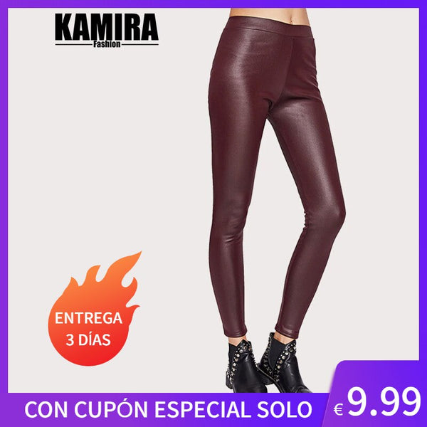 KAMIRA Red Women Leggins Interior Lining Smooth Design Elastic Waist Legging Pants Pushup Fitness Fashion Autumn Winter