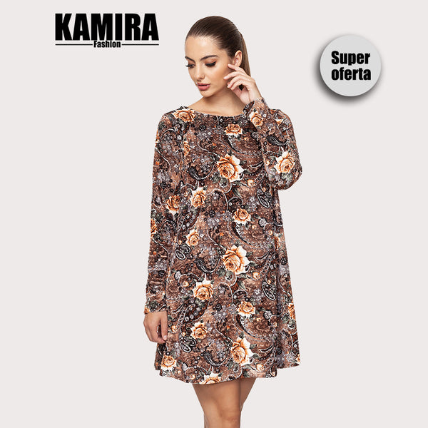 KAMIRA Short Dress Long Sleeves Floral Print Warm Color Large Flowers Tone Khaki White Droplet Drawing Women's Clothing Fashion Casual Autumn
