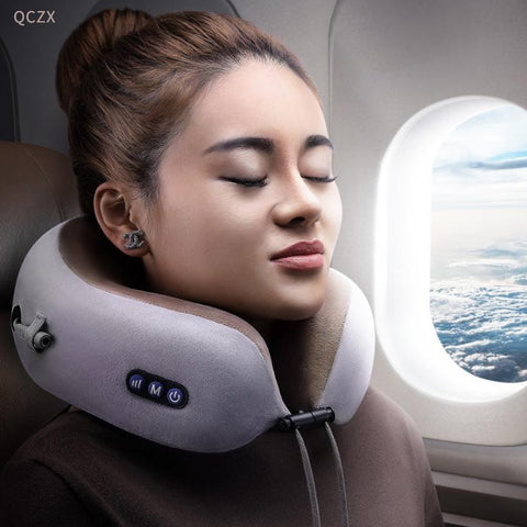 Portable Travel U-shaped Pillow Vibration Kneading Massage