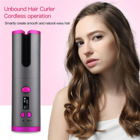Ceramic Hair Curling Iron USB Rechargeable with LED Display
