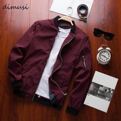 New DIMUSI Spring  Men's Bomber Zipper Jacket, Casual Street-wear