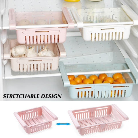 Adjustable Stretchable Refrigerator Organizer Drawer Basket