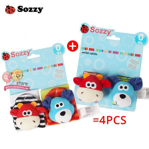 Sozzy 4 piece Soft Baby Rattles Plush Toys