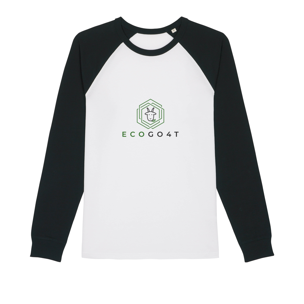Baseball Organic Long Sleeve T-Shirt Black & White