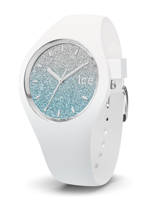 ICE WATCH Lo Collection Silver Case 40mm (M) White Blue Dial White Strap