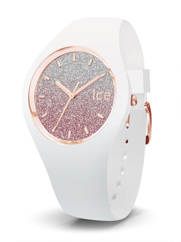 ICE WATCH Lo Collection Rose Gold Case 40mm (M) White Pink Dial White Strap