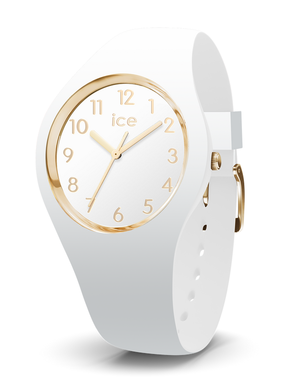 ICE WATCH Glam Collection Gold Case 34mm (S) White Dial White Strap