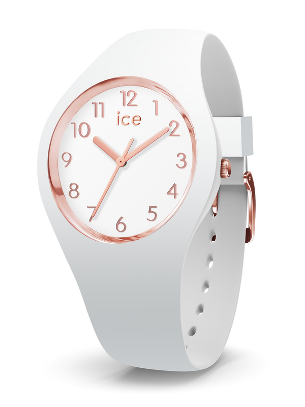 ICE WATCH Glam Collection Rose Gold Case 34mm (S) White Dial White Strap