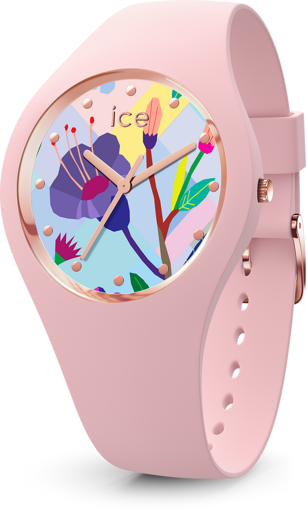ICE WATCH Flower Collection Rose Gold Case 34mm (S) Pink Flower Dial Pink Strap