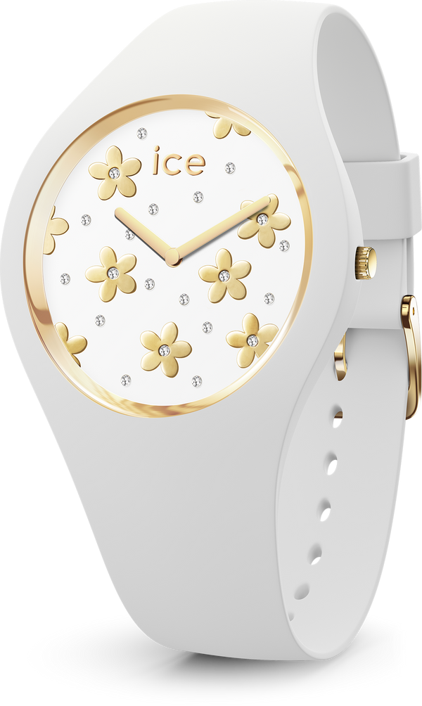 ICE WATCH Flower Collection Gold Case 40mm (M) White Dial White Strap