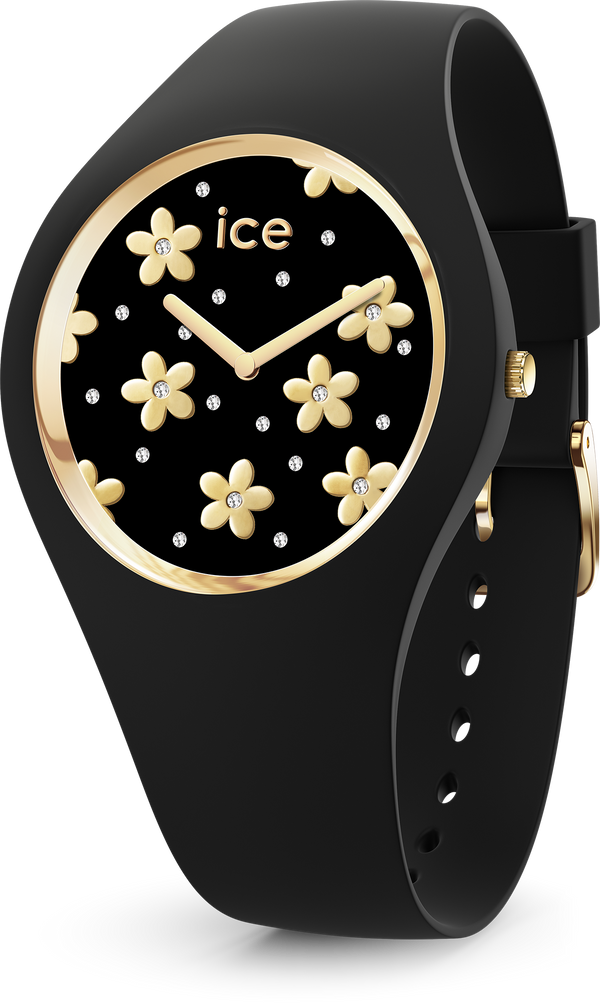 ICE WATCH Flower Collection Gold Case 40mm (M) Black Dial Black Strap
