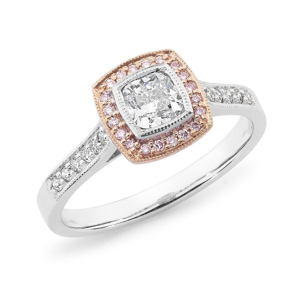 PINK CAVIAR 0.72ct White Cushion Cut & Pink Diamond Halo Engagement Ring in 18ct White Gold