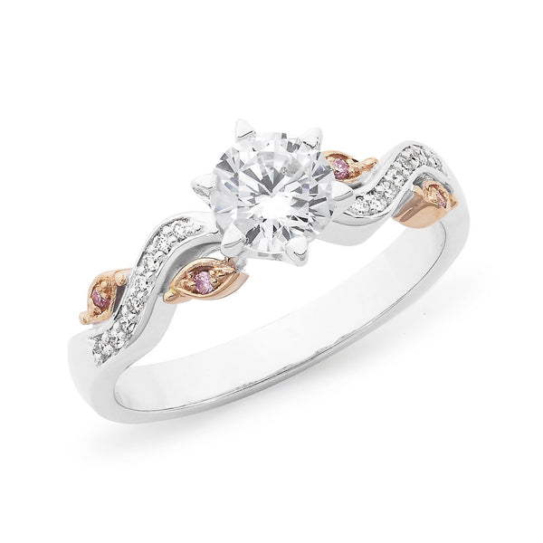 PINK CAVIAR 0.80ct White Round Brilliant & Pink Diamond Engagement Ring in 18ct White Gold