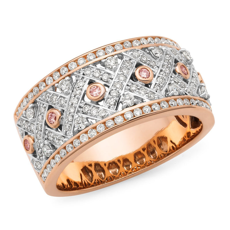 PINK CAVIAR 0.85ct Pink Diamond Ring in 9ct Rose & White Gold