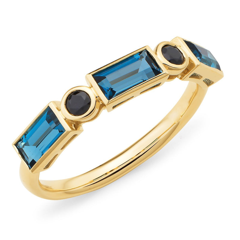 London Blue Topaz, Onyx & Diamond Bezel Set Dress Ring in 9ct Yellow & White Gold